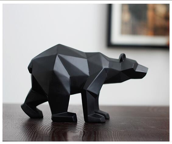 Pantera negra escultura geométrica resina leopardo estátua vida selvagem decoração presente artesanato ornamento acessórios mobiliário urso estátuas