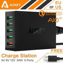 Aukey carga rápida 2.0 54 w 5 puerto micro usb cargador de escritorio móvil qc2.0 carga de pared de la ue ee.uu. plug para iphone samsung s6 sony htc