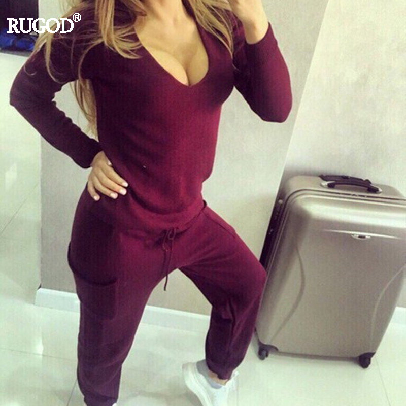 RUGOD Women Tracksuit 2 two Pieces Set Knitted Pullover Sweaters Tops Deep V neck Long Sleeve