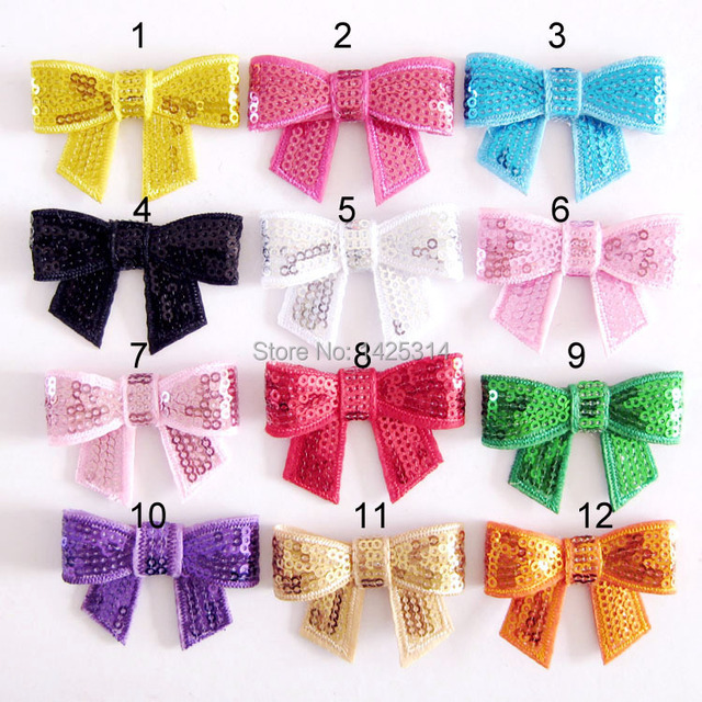 52 35mm Sequin Bow Knot Lique Embroideried Bows Diy Hair Accessories Boutique