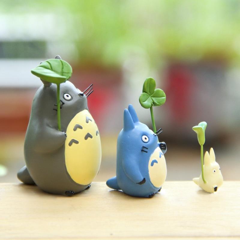 Totoro Con Hoja Figura Linda de Juguete Estudio Ghibli Miyazaki Hayao - Figuritas de juguete - foto 2