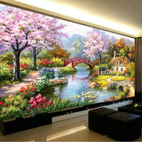 Needlework DIY DMC Scenery Landscape Cross Stitch Famous Painting Garden Cabin Sets For Chinese Embroidery Kits