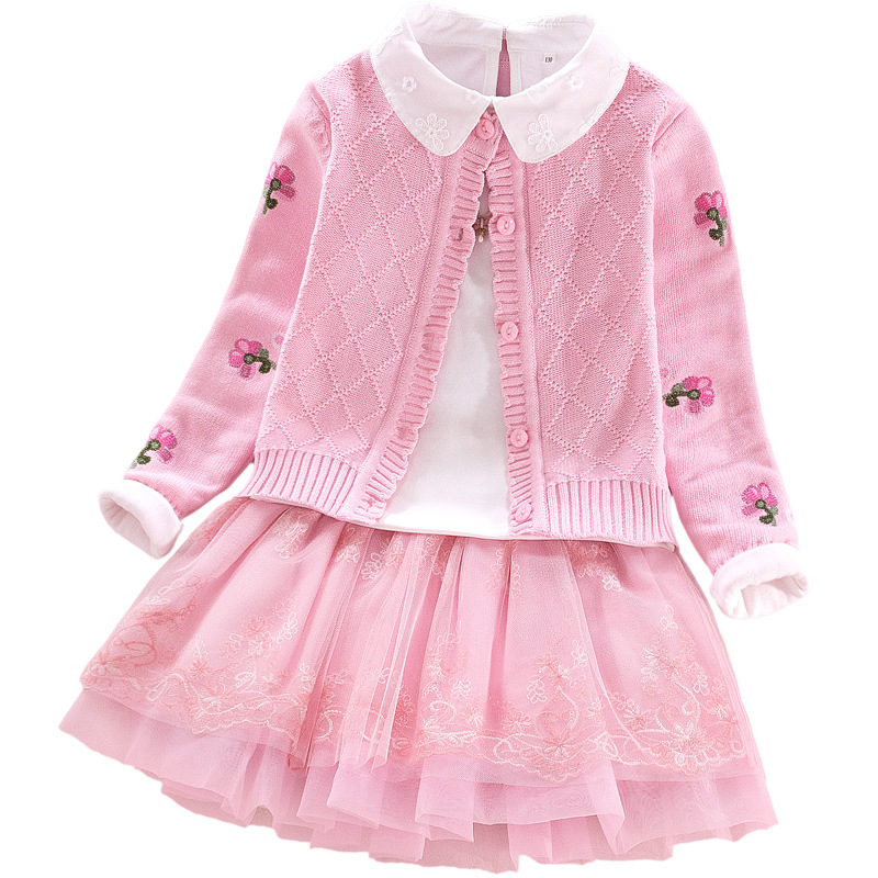 Girls coat sweaters autumn winter 2018 children's clothing set Long Sleeve Knit sweater baby princess dress set three-piece micro hdmi to hdmi v1 4 cable male to male for smartphone tablet pc
