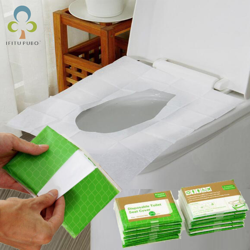 5 Packs=50Pcs Disposable Paper Toilet Seat Covers Camping Loo wc Bacteria-proof cover For Travel/Camping Bathroom ZXH(China)