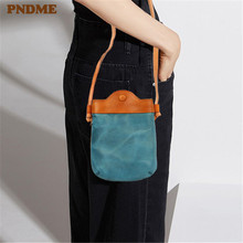 PNDME vintage fashion designer handmade soft genuine leather cowhide light ladies small shoulder messenger bags for women