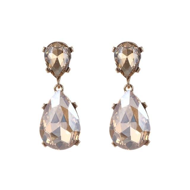 Zhini Luxury Wedding Crystal Dangle Earrings For Women Beads Gem Fashion Designer Drop Statement Jewelry