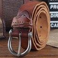 Couro Cintos de Couro Genuíno dos homens da marca Cinta masculina pin fivela fantasia cintos masculinos cinta calça jeans masculina do vintage ceinture homme