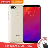 Глобальная версия lenovo A5 3 ГБ ОЗУ 16 Гб ПЗУ MTK6739 четырехъядерный смартфон 5,45 'отпечатков пальцев 4G LTE телефоны 4000 мАч разблокировка лица