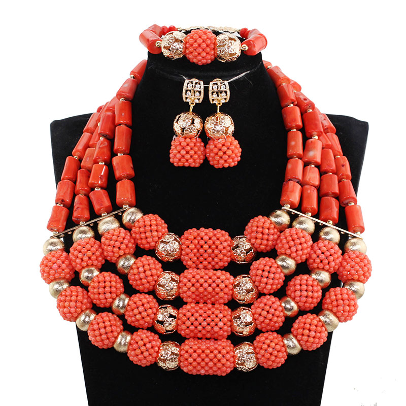 Marvelous Nigerian Traditional Wedding Coral Beads Jewelry Set African Indian Bridal Beads Necklace Set Free Shipping CNR659