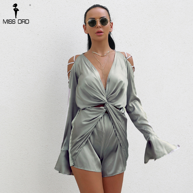Missord 2018 Sexy Deep V  Long Sleeve Off Shoulder Cross Women Elegant Playsuit  Ft8135 by Miss Ord