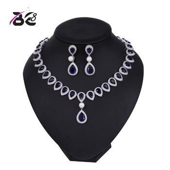 Be 8 Exquisite CZ Wedding Party Jewelry Set Water Drop Design High Quality Bridal Necklace Earring Dubai Jewelry YC003