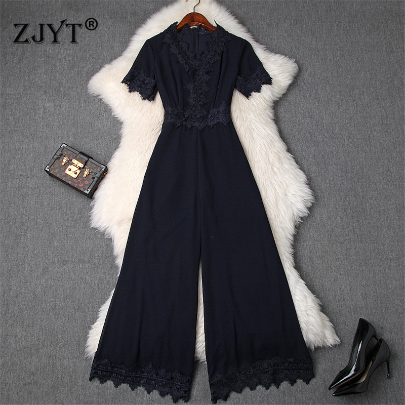 Fashion Designer Summer Elegant Lady Office Jumpsuit Women Long Pants Overalls Lace Patchwork Chiffon Rompers Womens Jumpsuits