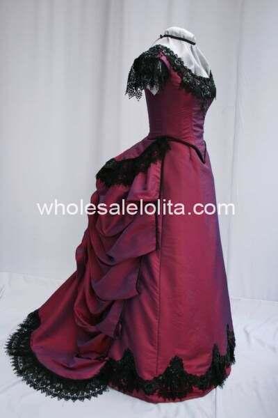 1900e Siècle Profonde Rouge De Mariée En Satin Noir Dentelle Victorienne Période Bustle Dress