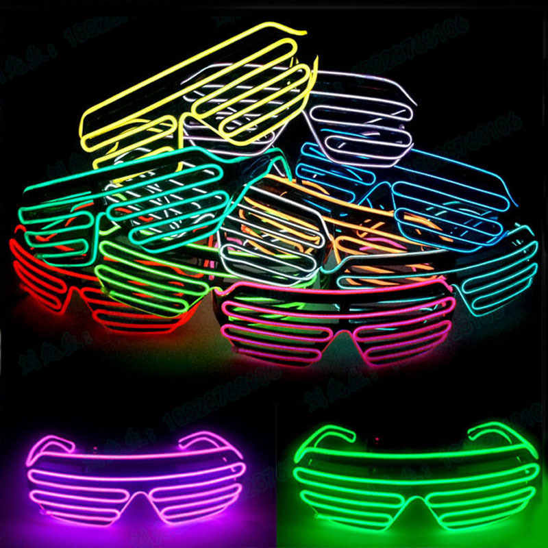 LED Blinds Glasses Flashing EL Wire Luminous Party DIY Decorative Light Up Shades Flashi ...