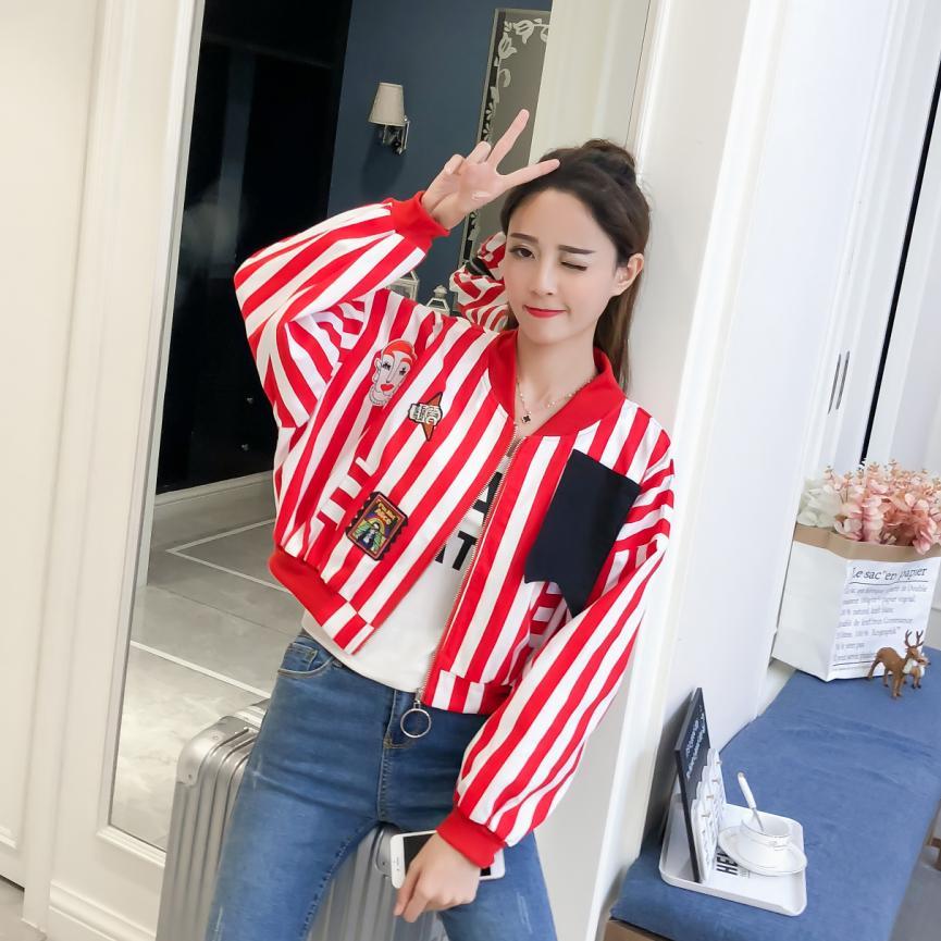 Stripe Jackets Women 2018 New Women's Basic Jacket Fashion Windbreaker High Quality Outwear Female Baseball Women Coat Casual
