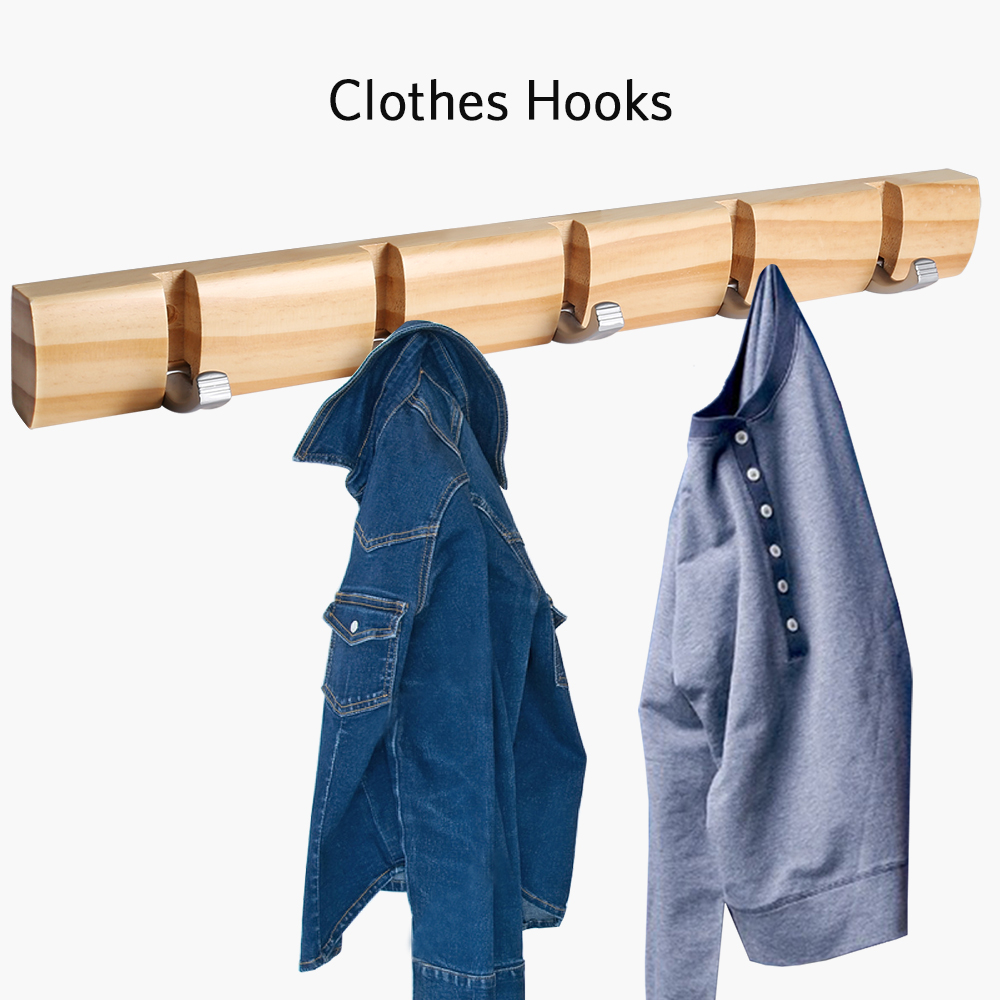 5 Hooks 18-inch Coat Robe Hooks Wall Mounted Clothes Cooking Tools Hanger Rack Hanging Rack Hooks Kitchen Bathroom Accessories