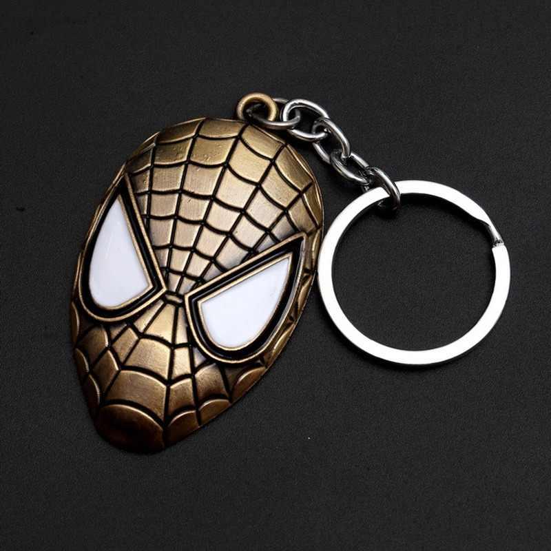 Marvel Super Hero Avengers Iron Man Spider man หน้ากากพวงกุญแจของเล่น Vintage แฟชั่นเคลือบโลหะจี้ Key ring chaveiro