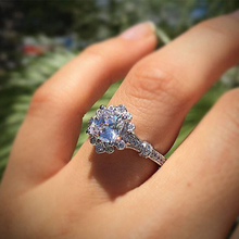 Luxury Crystal Female White Zircon Stone Engagement Ring Fashion Silver Geometric Petal  Vintage Wedding Jewelry Rings For Women
