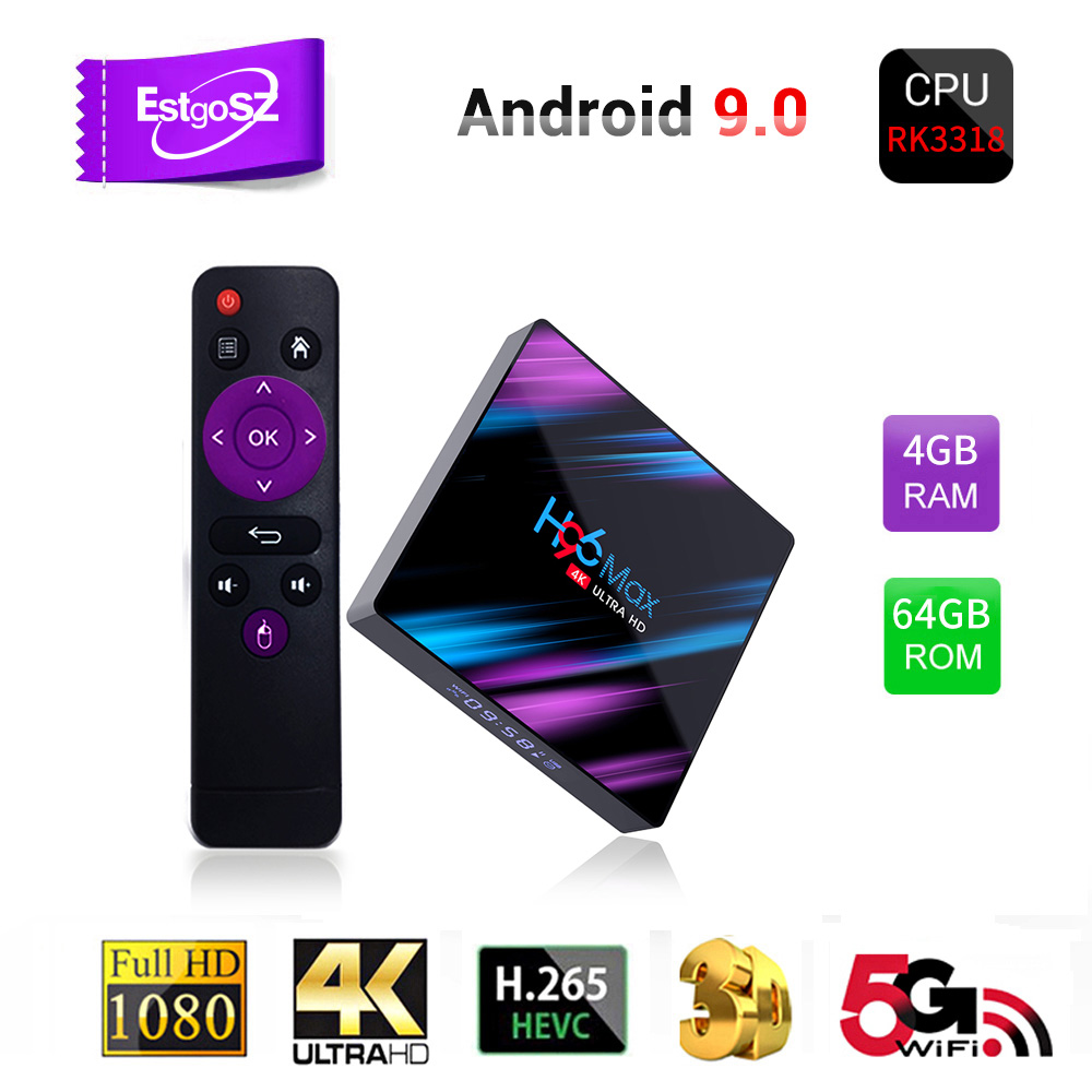 EstgoSZ H96 MAX-3318 Newest Smart TV Box Android 9.0 RK3318 CPU Penta-Core Mali450 <font><b>GPU</b></font> 4K 3D <font><b>2GB</b></font>&16GB 4GB&32/64GB 2.4/5GWIFI image