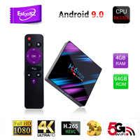EstgoSZ H96 MAX-3318 Più Nuovo Smart TV Box Android 9.0 RK3318 CPU Penta-Core Mali450 GPU 4K 3D 2GB e 16GB 4GB e 32/64GB 2.4/5GWIFI