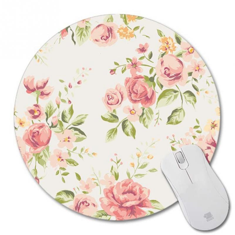 Beautifully Designed  Mouse Pad Round Shape Mouse Pad Rubber Base Soft Cloth Easy Clean Smooth Romantic Flowers Style