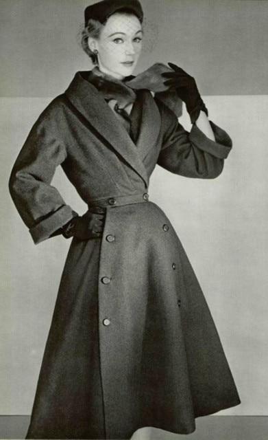winter women vintage 1950s Audrey Hepburn black v neck long sleeve swing wool coat elegant plus size abrigos mujer jacket casaco