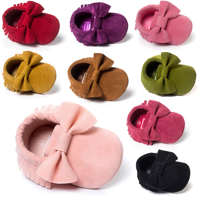 2019 Butterfly-knot Tassels Bow Baby Moccasin Quality Infant Babies First Walkers Newborn Footwears Indoor Baby Girls Boots