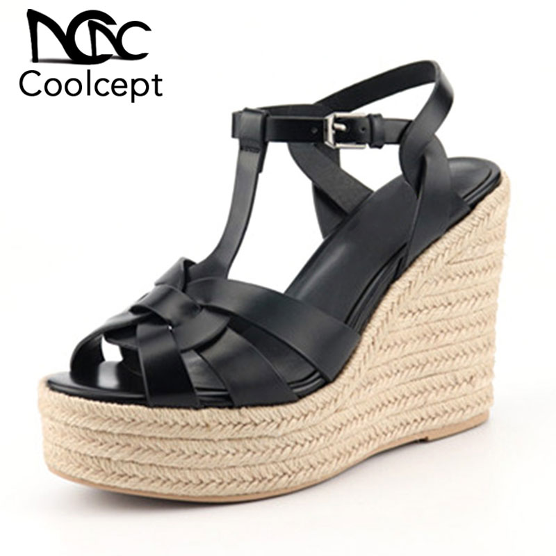 Coolcept Summer New Wedges Sandals Women Genuine Leather Open Toe High Heels Shoes Buckle Platform Women