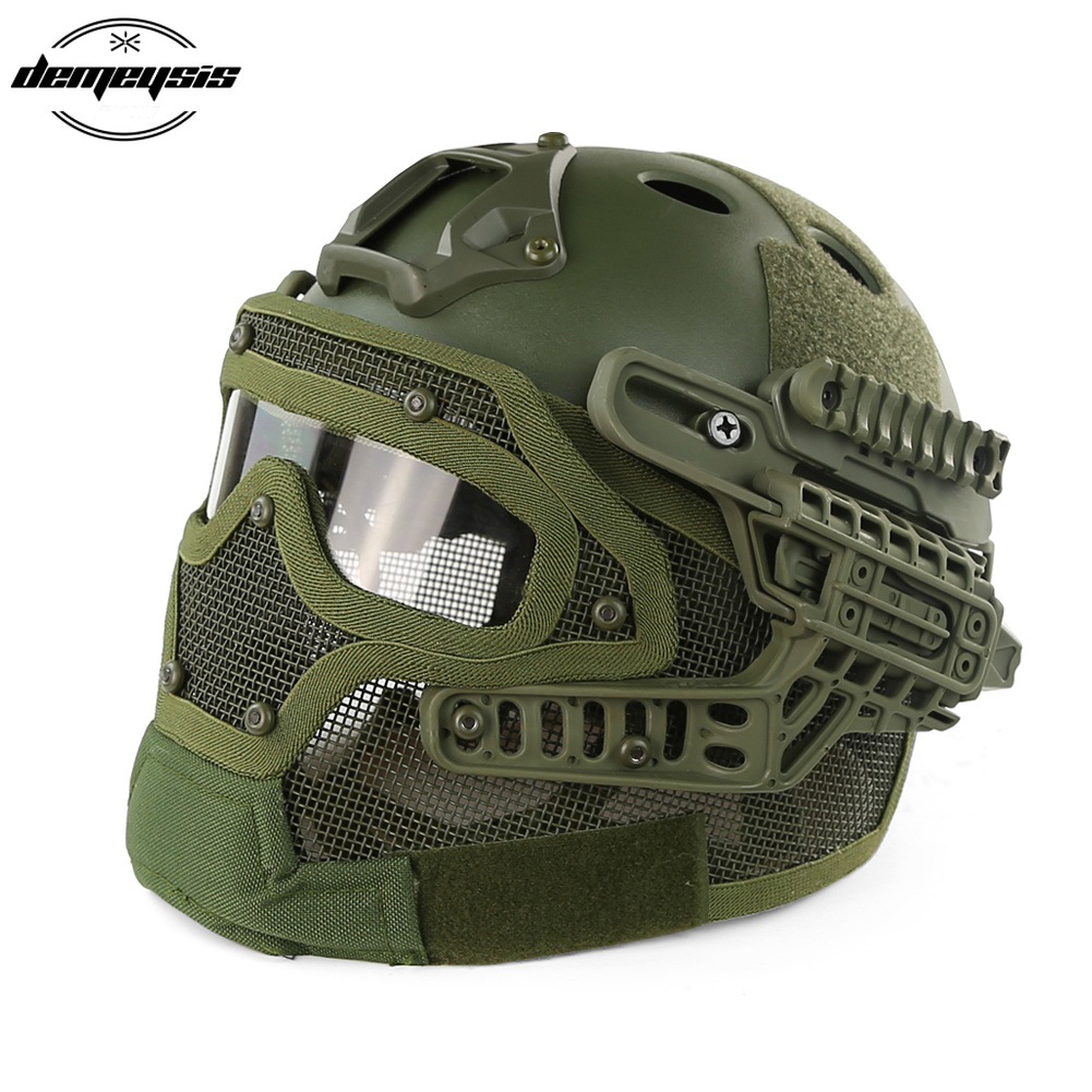 Green Tactical Helmet with Mask Airsoft Helmet Paintball Fullface Protective Face Mask Helmet for Sports CS Military Helmet