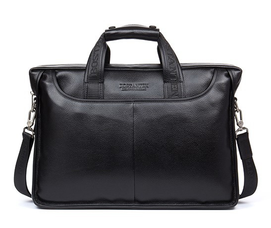 100% Cowhide mens business briefcase / Genuine leather man vintage cross-body one shoulder computer bag / Luxury leather bag