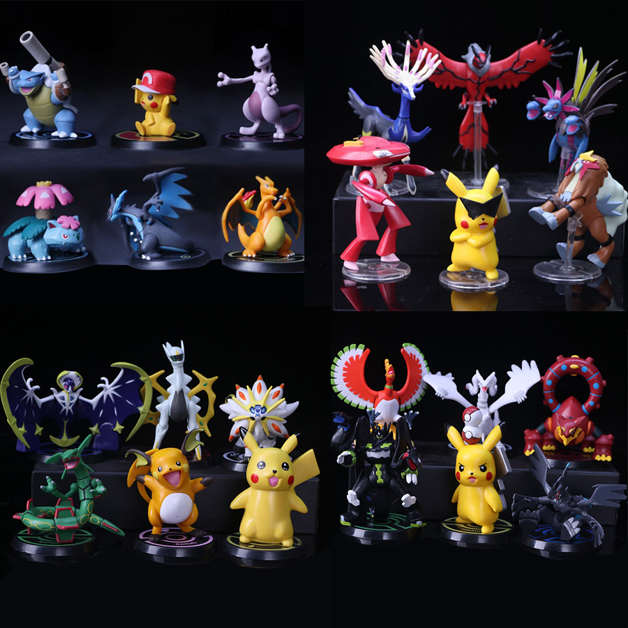 7-14cm Big size X Y Hydreigon Entei Genesect Raichu pika anime action & toy figures Collection model toys pokemones movable base