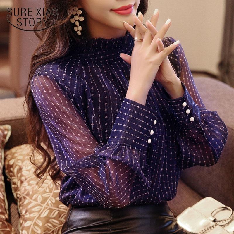 2018 nueva moda Otoño mujer blusa camisa de manga larga de las mujeres de moda femenina blusa Oficina dama delgada tocando fondo D468 30