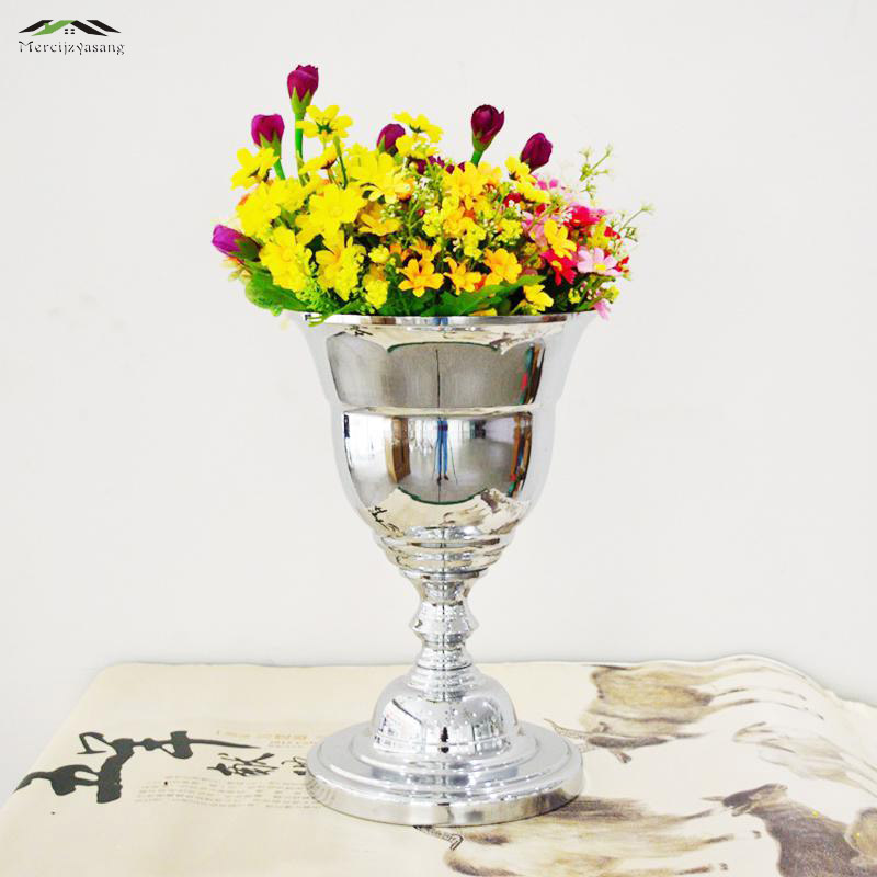 2pcs/lot Silver Metal Flower Vase Rack Wedding Table Centerpiece 35cm*22cm Centerpiece Flower Holder For Wedding Decoration 027 Home & Garden