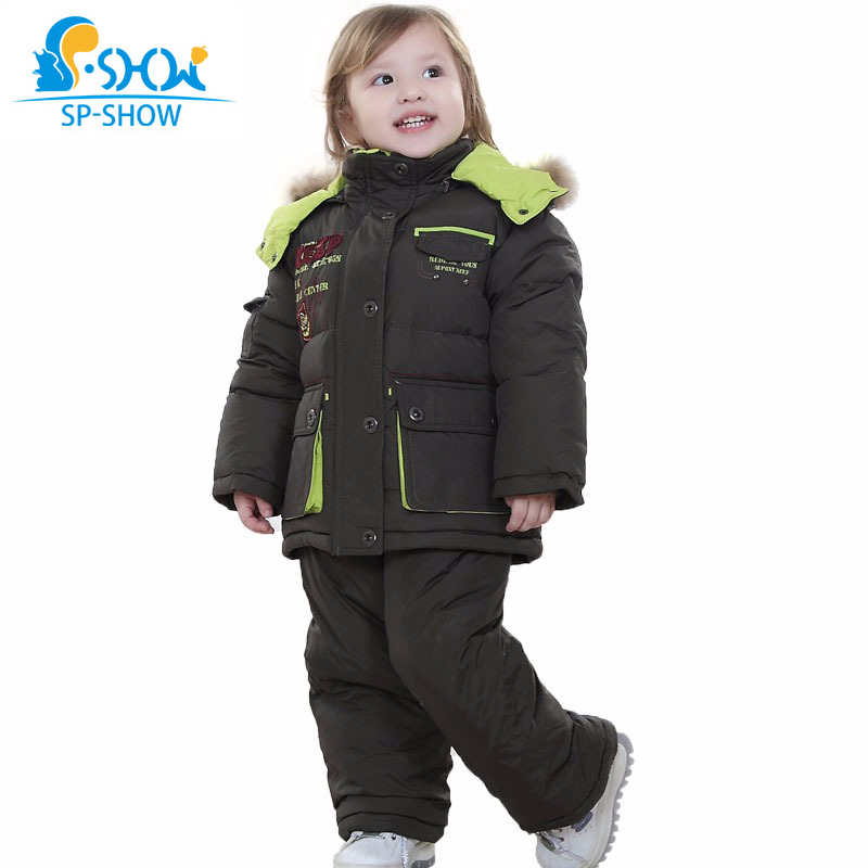 SP-SHOW Brand Winter Kids Suit Hooded Two Piece Children Jacket Girls and Boys Jacket For Down & Parkas 033 купить недорого в Москве