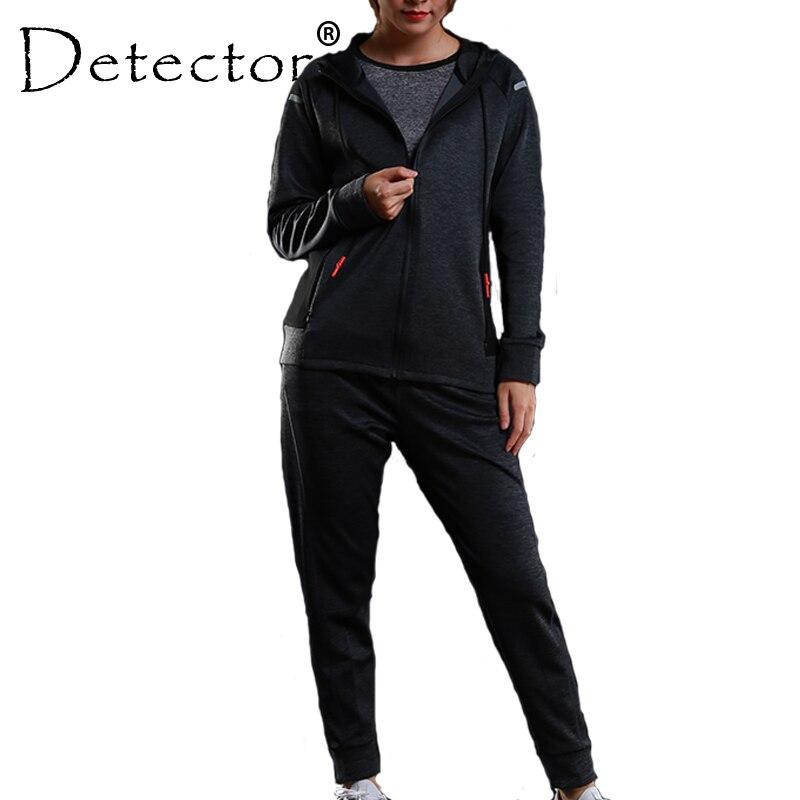 Детектор Для женщин тренировки Фитнес куртка для бега Штаны набор работает колготки обучение одежда с длинным рукавом толстовки спортивны...