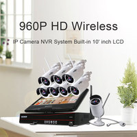 Hiseeu 8CH 960P Wireless CCTV System Outdoor IR Night Vision IP Camera 10 Inch Displayer CCTV