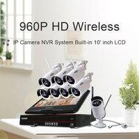Hiseeu 8CH 960P Wireless CCTV System Outdoor IR Night Vision IP Camera 10 Inch Displayer CCTV