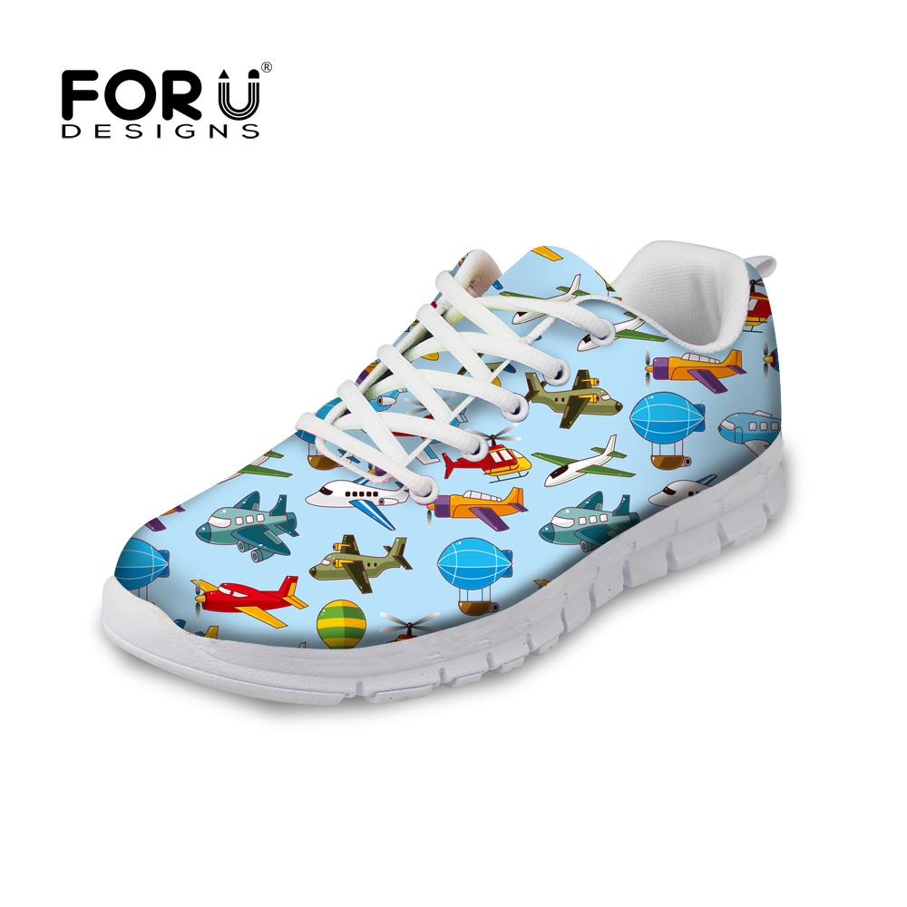FORUDESIGNS Female Fashion Autumn Casual Flat Shoes Airplane Puzzle Pattern Women Lace-up Light Weight Shoes Flats Woman Zapatos instantarts casual women s flats shoes emoji face puzzle pattern ladies lace up sneakers female lightweight mess fashion flats