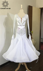 GOODANPAR Backless Lycra Silk Ballroom Dance Competition Dress Women Ladies With Bodysuit Bra Cups Standard Waltz Dance Dress