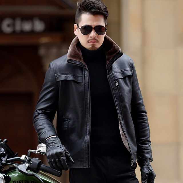 2018 Winter New Casual Thick Mens Leather Coats Plus Size Velet Lining Jacket Kulit Pria