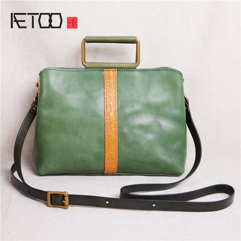 AETOO New handmade New original handmade first layer cowhide leather handbag leather handbag small bag retro shoulder bag aetoo original new handmade first layer leather bag messenger bag shoulder leather buckle retro bag packet