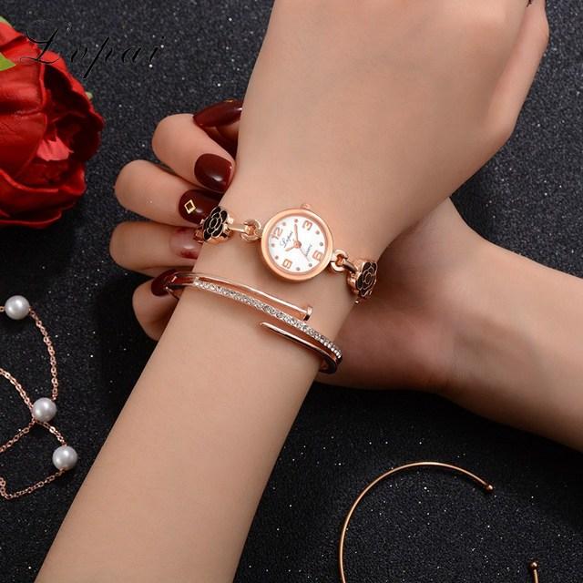 Lvpai New Women Bracelet Watches Dress Ladies Flowers Watches Alloy Creative Small And Exquisite Female Quartz Wristwatch
