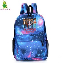a939727891ee Galaxy Stranger Things School Bags for Teenage Girls Boys Travel Rucksack  Children School Backpack Starry Night
