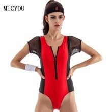 Black mesh 2017 new zipper Bodysuit women swimwear red Rompers one piece swimsuit Jumpsuit Costume Sexy women bathing suits