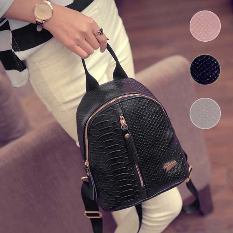 Fashion Women PU Leather Backpack Travel Shoulder Bag Adjustable Strap Zipper Rucksack WML99