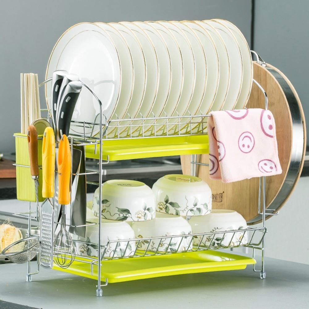 Home Basics 2 Tier Dish Rack Chrome Stainless Steel Walmart Com