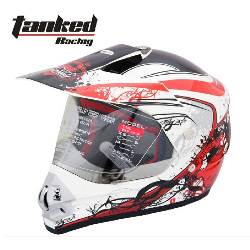 2017 Autumn winter Fashion Tanked Racing motocross Motorcycle helmet ABS OFF Road motorbike helmets with PC lens visor T340