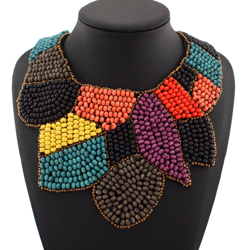 UKEN Bohemia Style Statement Wood Bead Collar Necklace Fashion ...