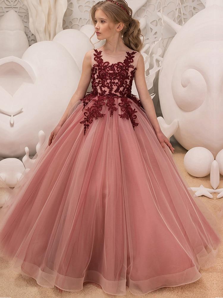 41f6ecde3 Kids Birthday Princess Party Dress for Girls Baby Flower Children Wedding  Gown Teenage Ceremony Fancy Tulle