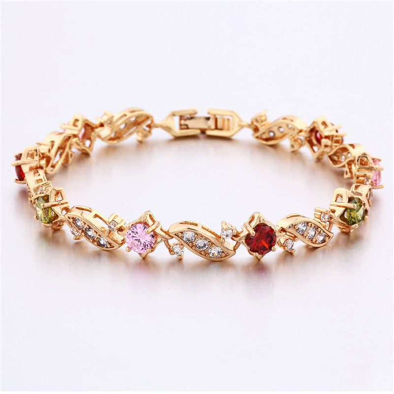 BUDONG 18cm Fashion Hand Bracelets for Women Silver/Gold Color Bracelet Pink Crystal Cublic Zirconia Jewelry Bangles XUL104 10